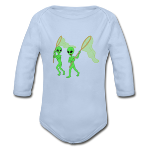 Space Alien Hunting - Organic Long Sleeve Baby Bodysuit - sky