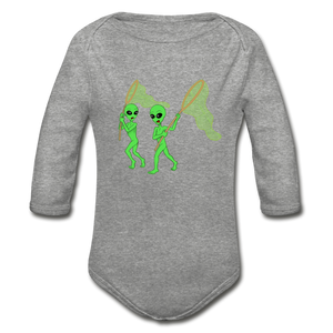 Space Alien Hunting - Organic Long Sleeve Baby Bodysuit - heather gray