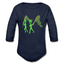 Load image into Gallery viewer, Space Alien Hunting - Organic Long Sleeve Baby Bodysuit - dark navy