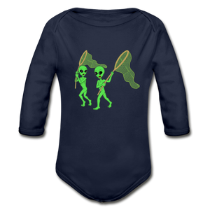 Space Alien Hunting - Organic Long Sleeve Baby Bodysuit - dark navy