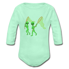 Load image into Gallery viewer, Space Alien Hunting - Organic Long Sleeve Baby Bodysuit - light mint