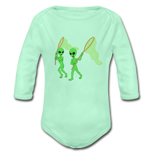Space Alien Hunting - Organic Long Sleeve Baby Bodysuit - light mint
