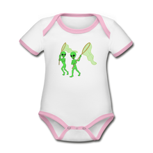 Load image into Gallery viewer, Space Alien Hunting - Organic Contrast Short Sleeve Baby Bodysuit - white/pink