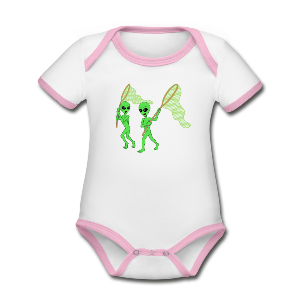 Space Alien Hunting - Organic Contrast Short Sleeve Baby Bodysuit - white/pink