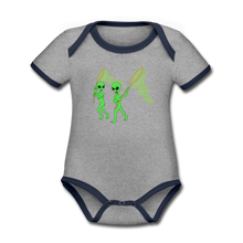 Load image into Gallery viewer, Space Alien Hunting - Organic Contrast Short Sleeve Baby Bodysuit - heather gray/navy