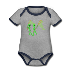 Space Alien Hunting - Organic Contrast Short Sleeve Baby Bodysuit - heather gray/navy