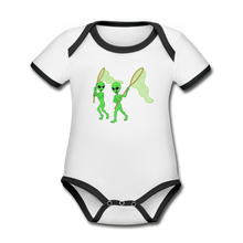 Load image into Gallery viewer, Space Alien Hunting - Organic Contrast Short Sleeve Baby Bodysuit - white/black