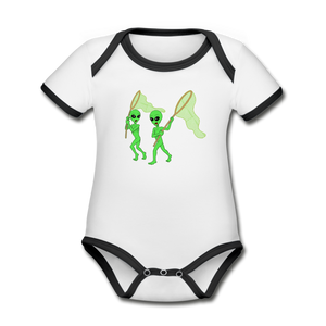 Space Alien Hunting - Organic Contrast Short Sleeve Baby Bodysuit - white/black