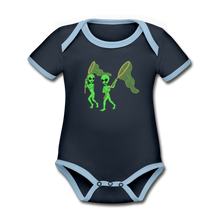 Load image into Gallery viewer, Space Alien Hunting - Organic Contrast Short Sleeve Baby Bodysuit - navy/sky
