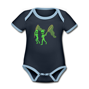 Space Alien Hunting - Organic Contrast Short Sleeve Baby Bodysuit - navy/sky