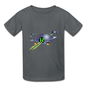 Space Alien Pee - Kids' T-Shirt - charcoal