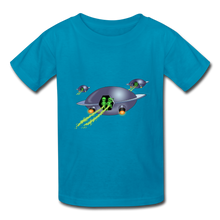 Load image into Gallery viewer, Space Alien Pee - Kids' T-Shirt - turquoise