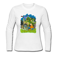 Load image into Gallery viewer, Grasshoppersaurus - Women's Long Sleeve Jersey T-Shirt - white