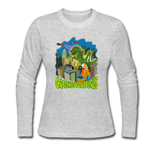 Load image into Gallery viewer, Grasshoppersaurus - Women's Long Sleeve Jersey T-Shirt - gray