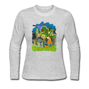 Grasshoppersaurus - Women's Long Sleeve Jersey T-Shirt - gray