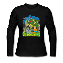 Load image into Gallery viewer, Grasshoppersaurus - Women's Long Sleeve Jersey T-Shirt - black