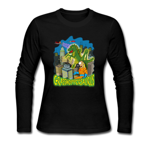 Grasshoppersaurus - Women's Long Sleeve Jersey T-Shirt - black