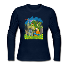 Load image into Gallery viewer, Grasshoppersaurus - Women's Long Sleeve Jersey T-Shirt - navy