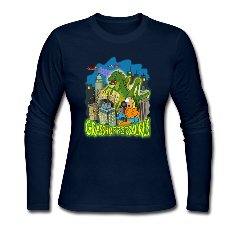 Grasshoppersaurus - Women's Long Sleeve Jersey T-Shirt - navy
