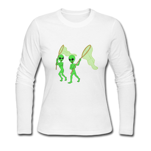 Space Alien Hunting - Women's Long Sleeve Jersey T-Shirt - white