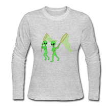 Load image into Gallery viewer, Space Alien Hunting - Women's Long Sleeve Jersey T-Shirt - gray