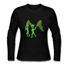 Load image into Gallery viewer, Space Alien Hunting - Women's Long Sleeve Jersey T-Shirt - black