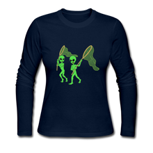 Load image into Gallery viewer, Space Alien Hunting - Women's Long Sleeve Jersey T-Shirt - navy