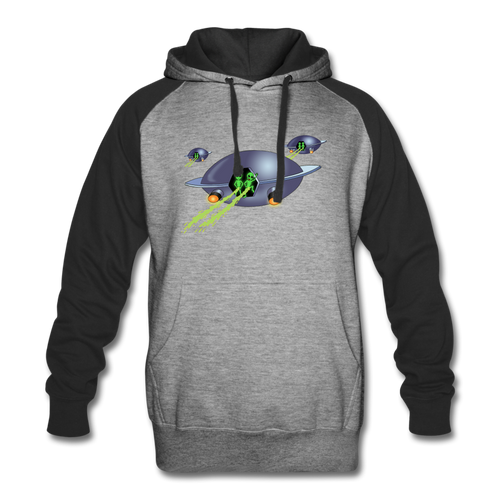 Alien Pee - Colorblock Hoodie - heather gray/black