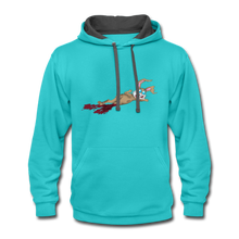 Load image into Gallery viewer, Bloody Bunny - Contrast Hoodie - scuba blue/asphalt