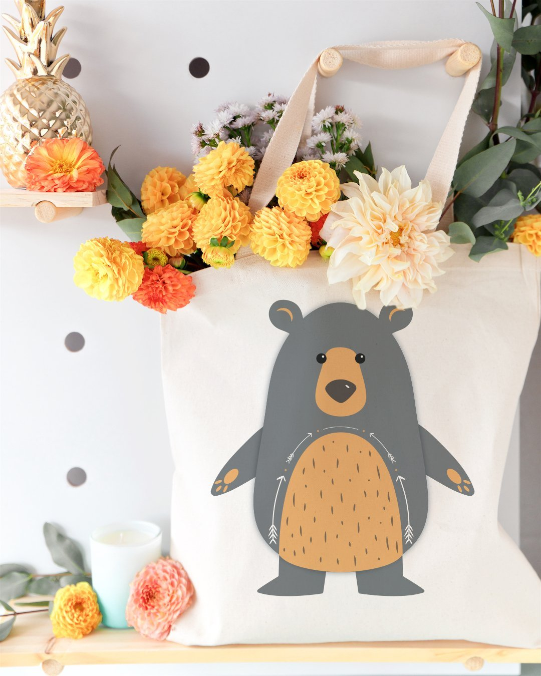 Bear Cotton Canvas Tote Bag - JD Ann Bees