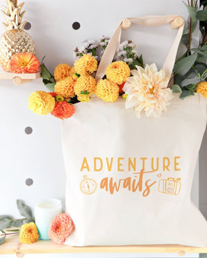 Adventure Awaits Cotton Canvas Tote Bag - JD Ann Bees