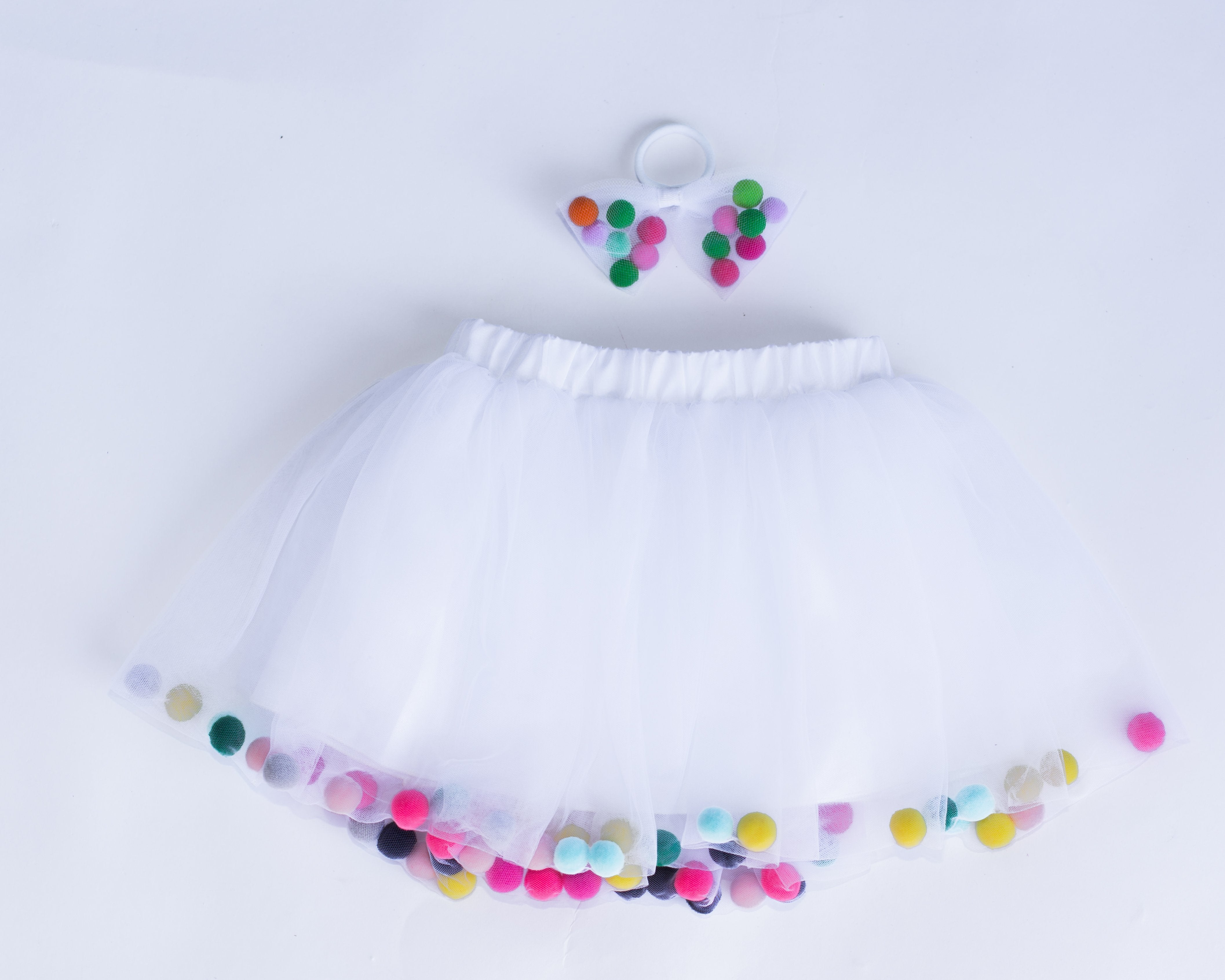 White Tutu Skirt With Multicolor Pom Pom Balls and Accessory - 2Pcs Set - JD Ann Bees