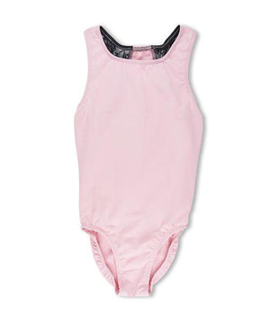 BALLET POWER RACER BACK LEOTARD PINK WITH BLACK LACE - JD Ann Bees
