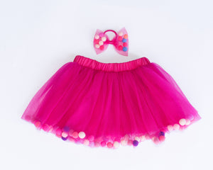 Fuchsia Tutu Skirt With Multicolor Pom Pom Balls and Bow Hair Tie-2Pcs Set - JD Ann Bees
