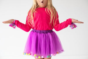 Purple Tutu Skirt With Multicolor Pom Pom Balls and Bow Hair Tie-2Pcs Set - JD Ann Bees