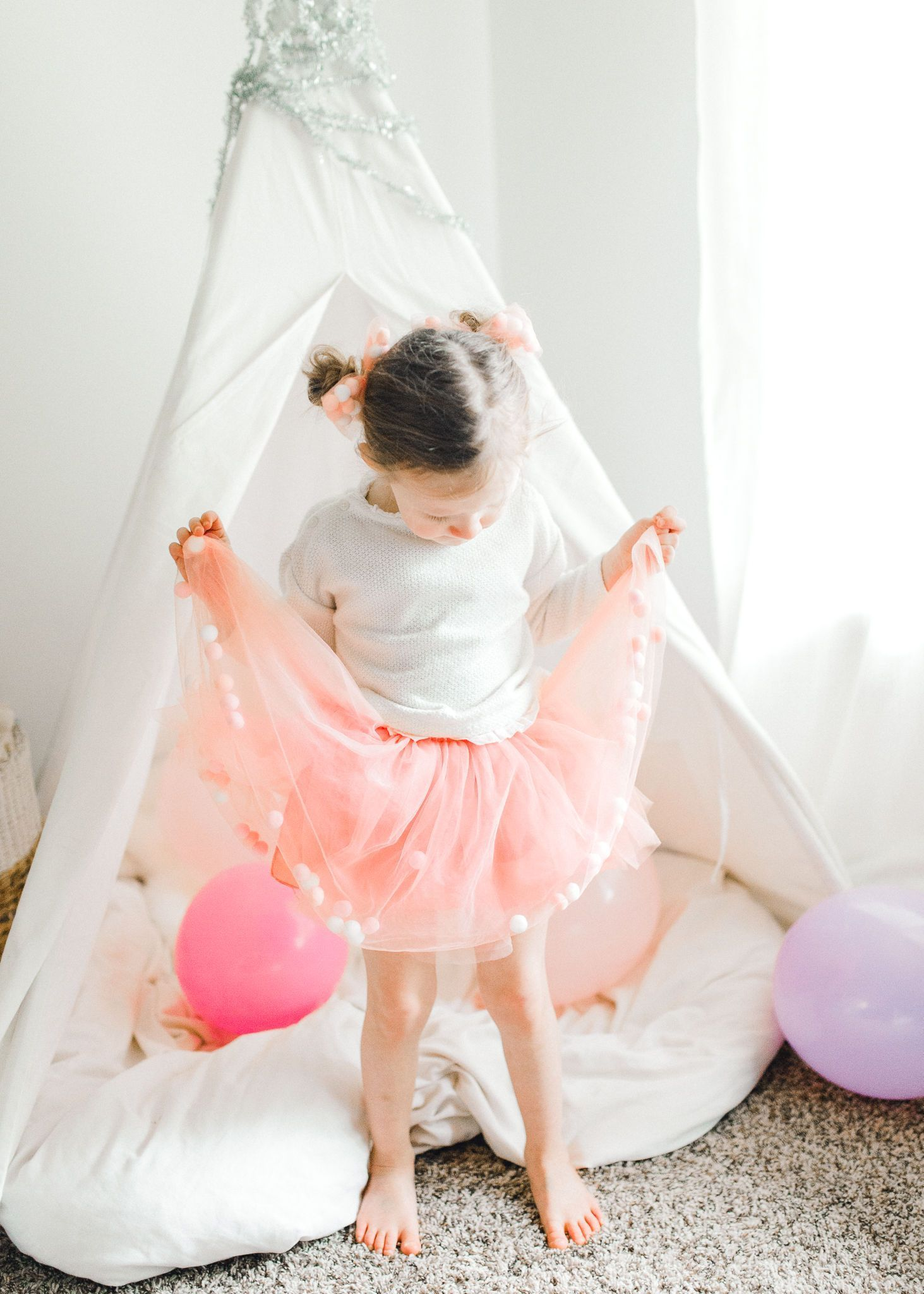 Dusty Rose Pink Tutu Skirt With Pom Pom Balls and Bow Hair Tie-2Pcs Set - JD Ann Bees