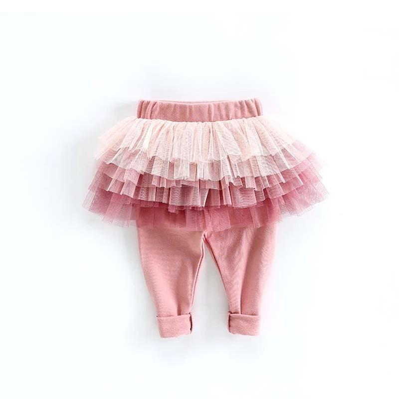 Baby and Toddler Cotton Leggings With Tutu Skirt (Pink or Gray) - JD Ann Bees