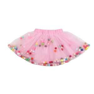 Pink Tutu Skirt With Multicolor Pom Pom Balls and Jewlery - 2Pcs Set - JD Ann Bees