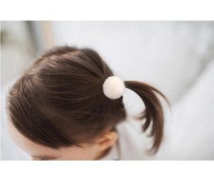 2Pcs Soft Grip Hair Ties With Pom Pom Balls - JD Ann Bees