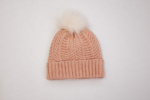 Rose Chevron Pom Hat