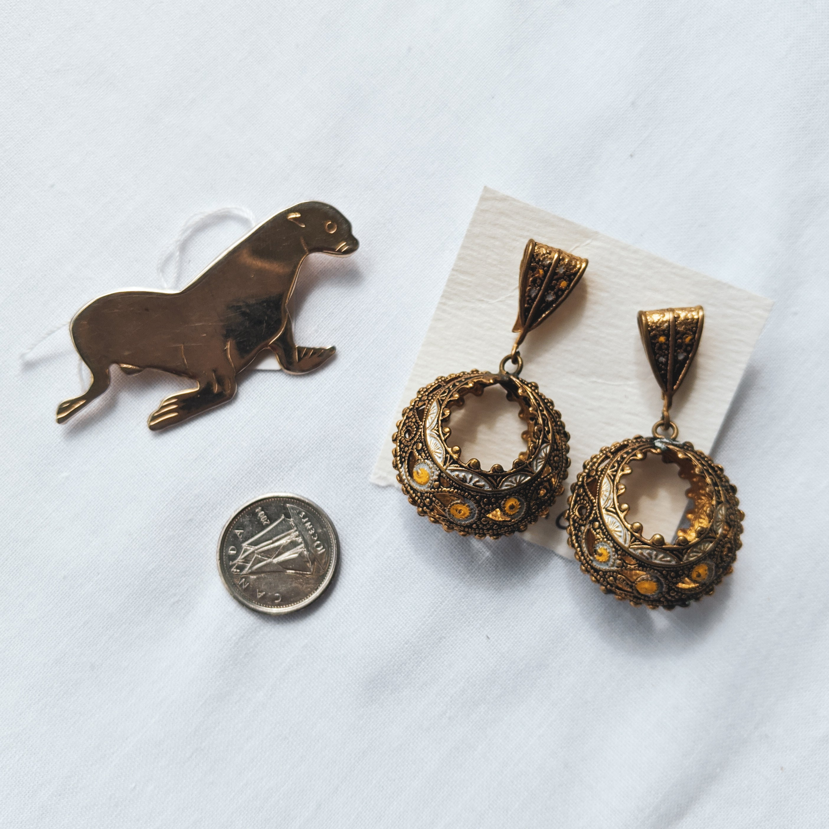 Hippy Earrings and Seal Pin