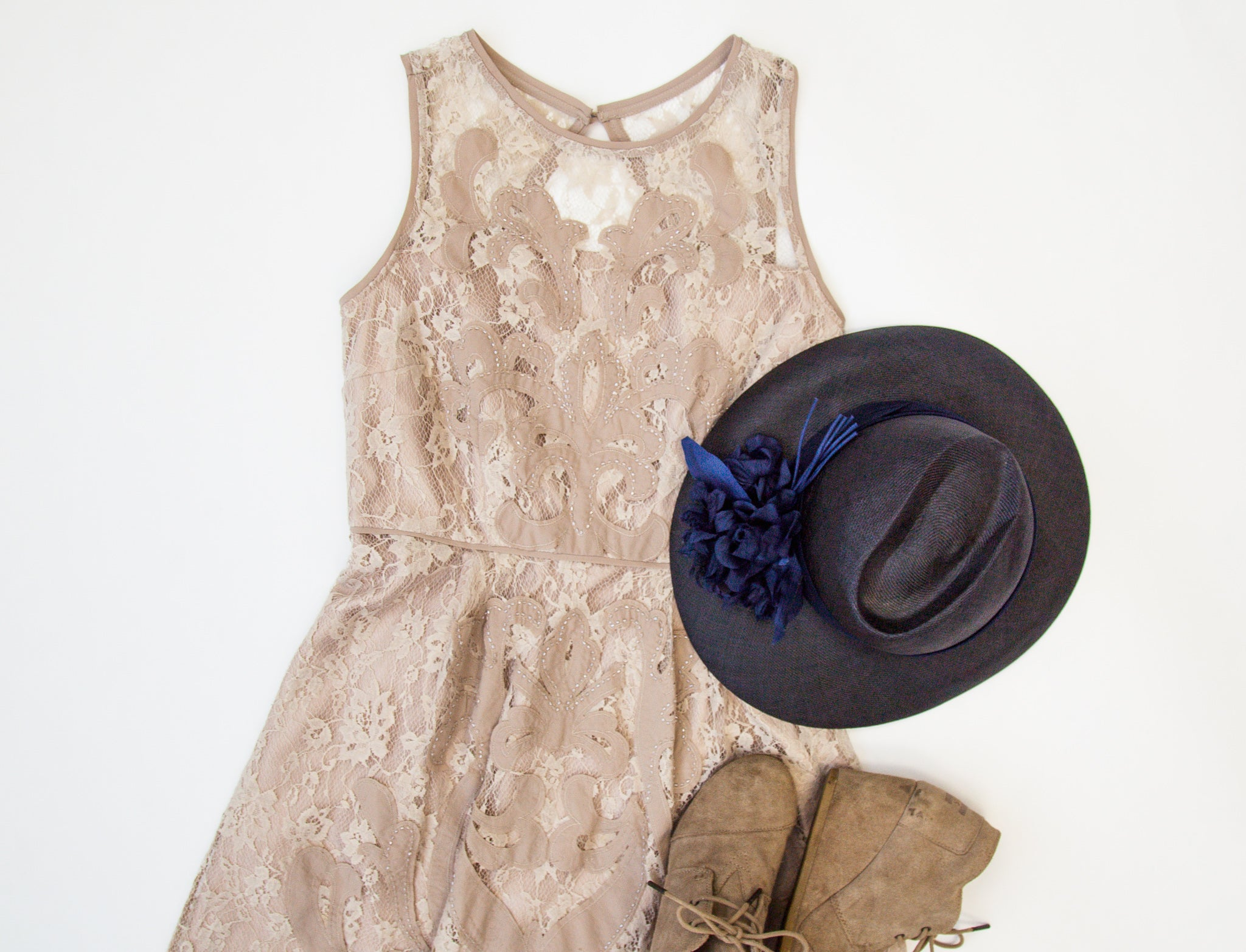 Neutral Lace Dress
