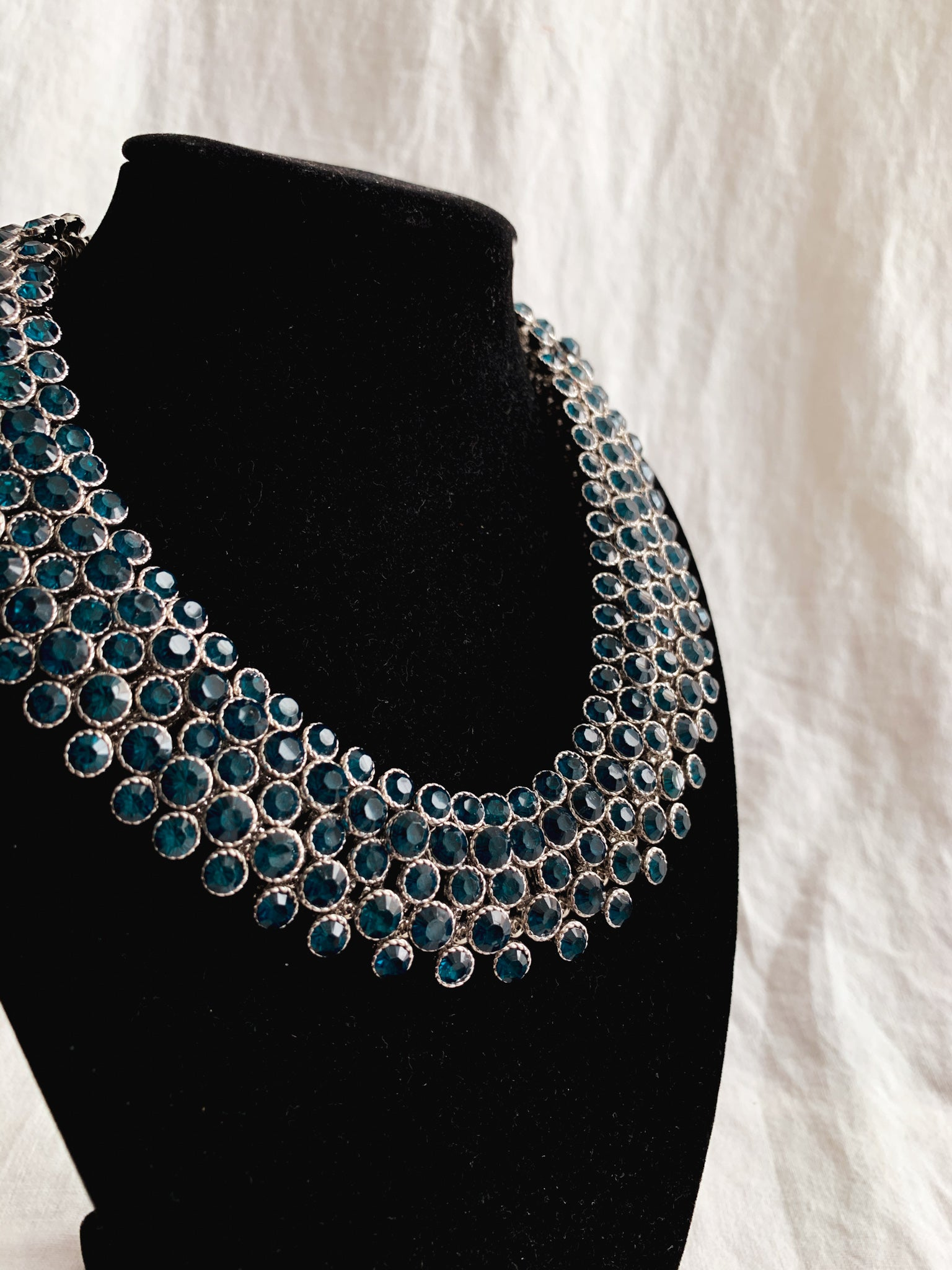 Blue Jewel Statement Necklace
