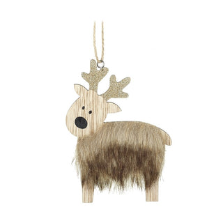 BROWN FUR WOODEN REINDEER HANGING DEC