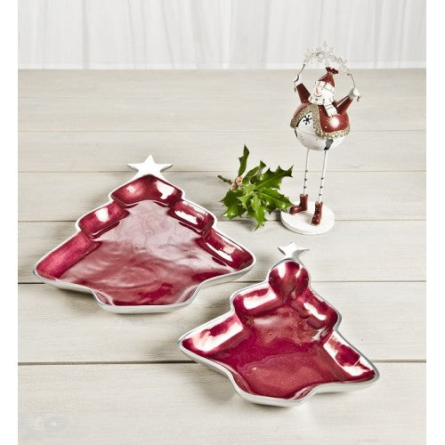 RED GLITTER CHRISTMAS TREE DISH, SMALL