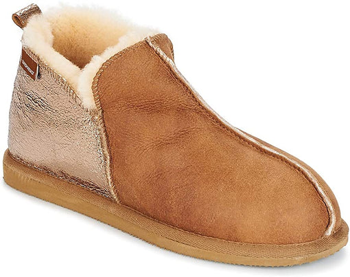 ANNIE COGNAC/GOLD SHEEPSKIN BOOTIE SLIPPERS