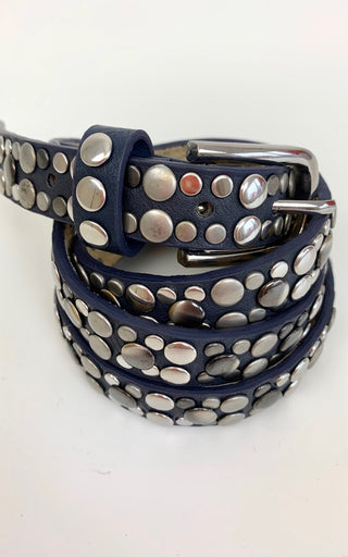 NAVY STUDDED SLIM BELT M/L