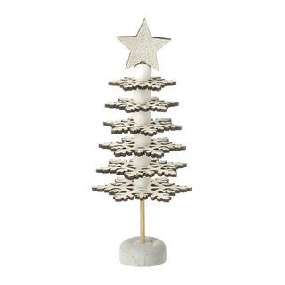 WOODEN SNOWFLAKE TREE WITH STAR