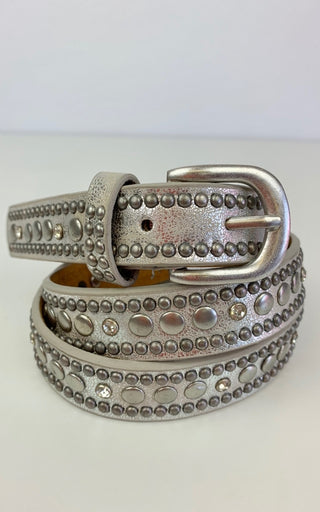 SILVER MEDIUM BELT WITH LARGE & SMALL STUDS S/M