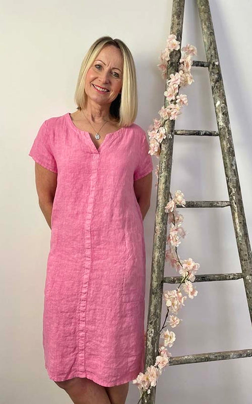 MAISIE LINEN DRESS, ROSE PINK